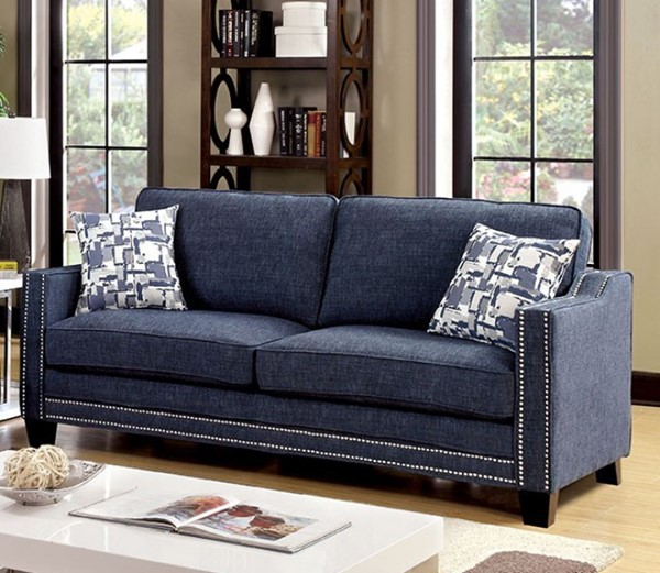HomeRoots Contemporary Blue Polyester Sofas with Curved Track Arms OCN-30337-SF-VAR
