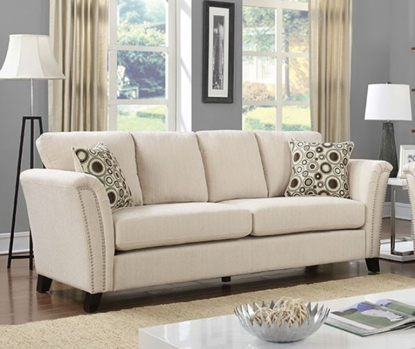 HomeRoots Contemporary Ivory Polyester Sofas OCN-303374-SF-VAR