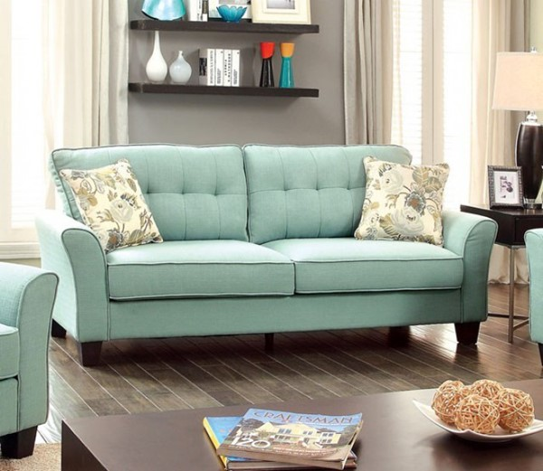 HomeRoots Transitional Blue Flax Fabric Padded Sofa OCN-303377