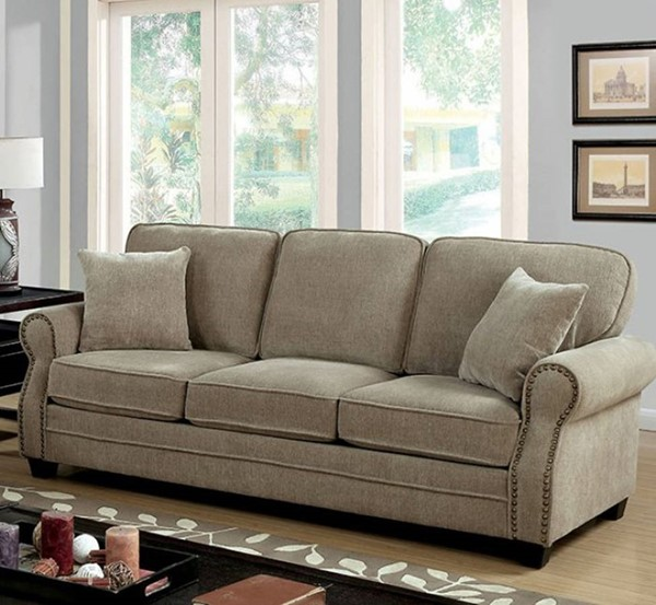 HomeRoots Transitional Brown Chenille Fabric Sofa OCN-303379