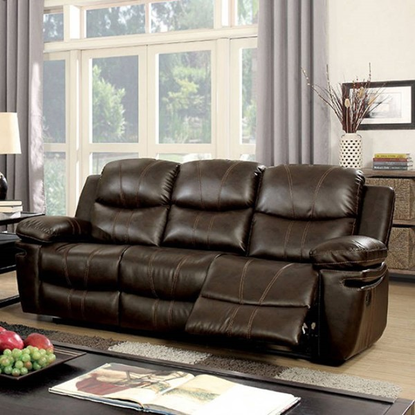 HomeRoots Brown Bonded Leather Gorgeous Sofa OCN-303387