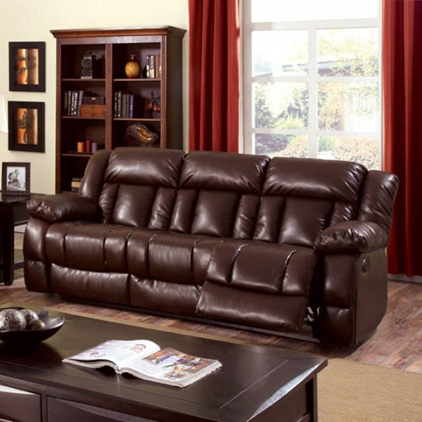 HomeRoots Transitional Brown Leather Sturdy Motion Sofa OCN-303388