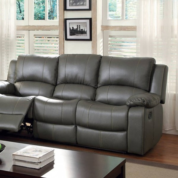 HomeRoots Transitional Gray Leather Sarles Motion Sofa OCN-303389