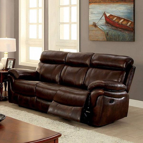 HomeRoots Transitional Brown Leatherette Sofa OCN-303392