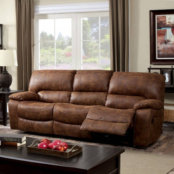 HomeRoots Transitional Brown Fabric Motion Sofa OCN-303393