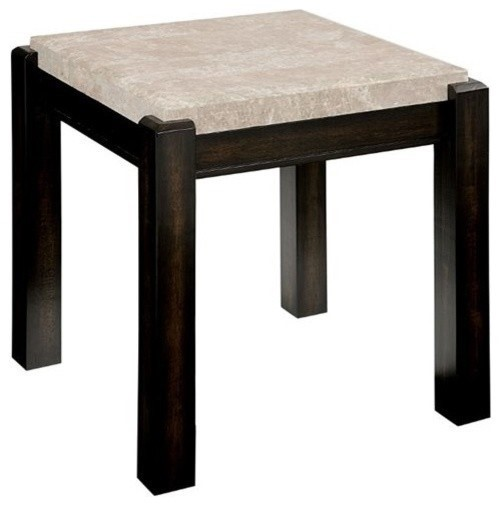 Homeroots Ivory Marble Top Solid Wood End Table OCN-303397