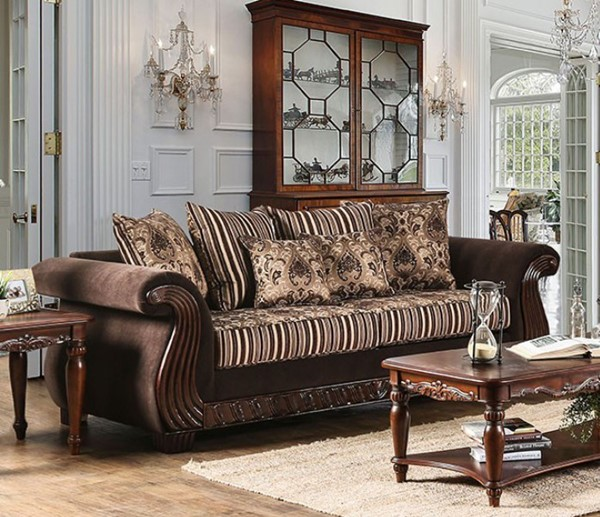 HomeRoots Traditional Brown Fabric Ratteling Sofa OCN-303403