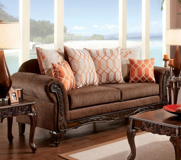 HomeRoots Transitional Brown Polyester Cushy Deluxe Sofa OCN-303408