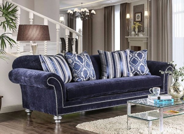 HomeRoots Dark Blue Fabric Classy and Charming Sofa OCN-303422