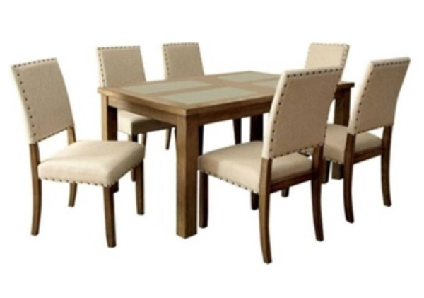 Homeroots Brown Wood Ivory Fabric 7pc Dining Set OCN-303432