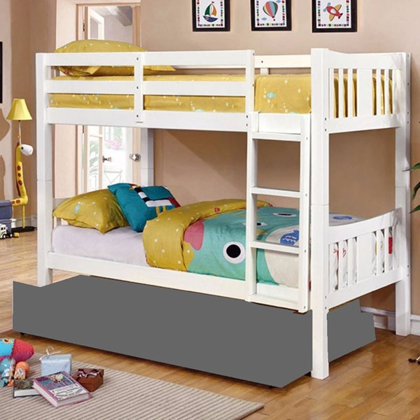 HomeRoots White Solid Wood Twin over Twin Bunk Bed OCN-303438