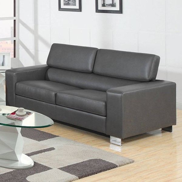 HomeRoots Contemporary Gray Leather Cushion Back Relaxing Sofa OCN-303444