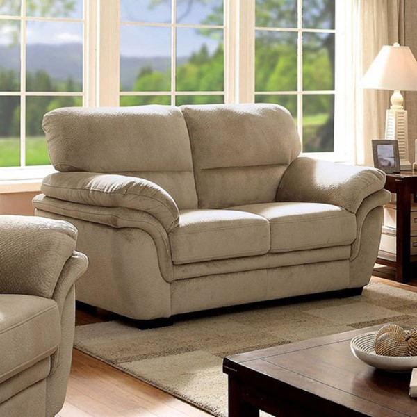 HomeRoots Transitional Beige Fabric Loveseat OCN-303449
