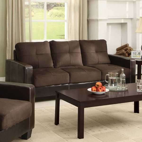 HomeRoots Contemporary Espresso Chocolate Microfiber Sofa OCN-303452