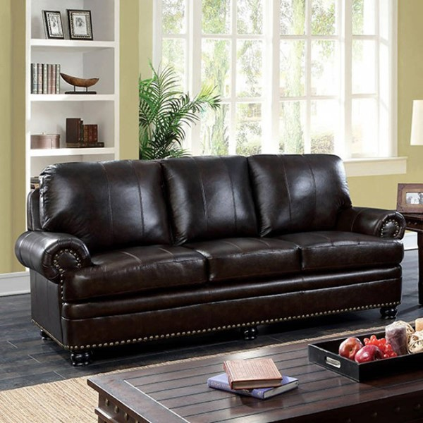 HomeRoots Transitional Dark Brown Leather Cushion Back Sofa OCN-303454