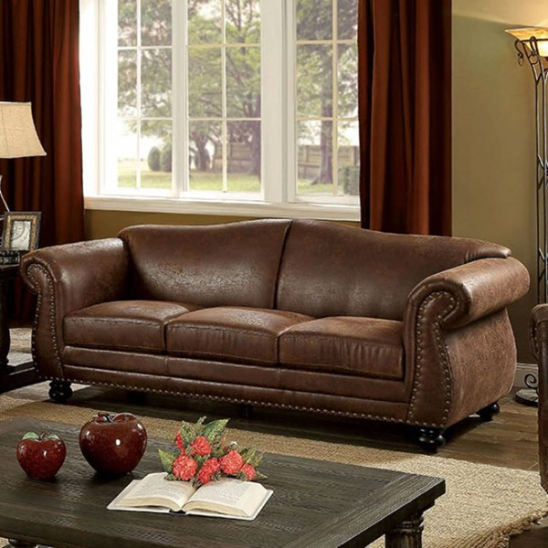 HomeRoots Brown Breathable Leatherette Sofa OCN-303462