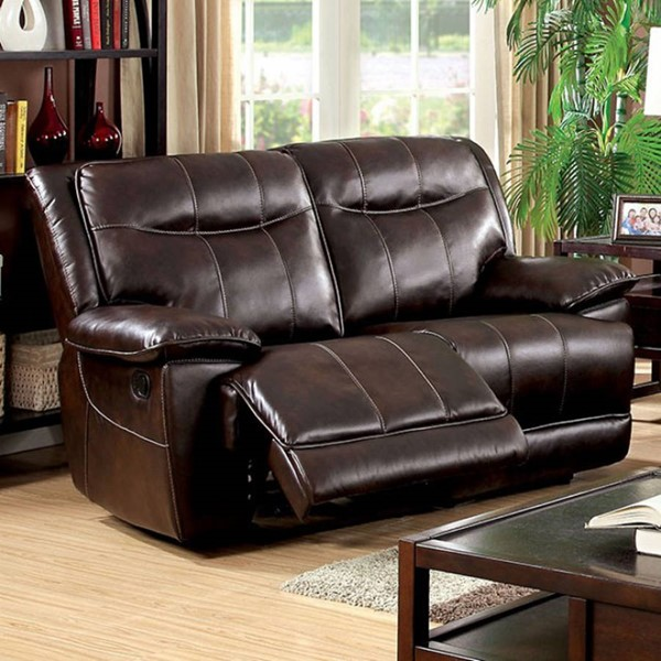 HomeRoots Brown Faux Leather Loveseat OCN-303465