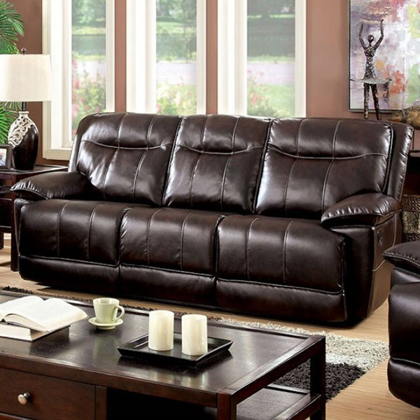 HomeRoots Brown Faux Leather Sofa OCN-303467