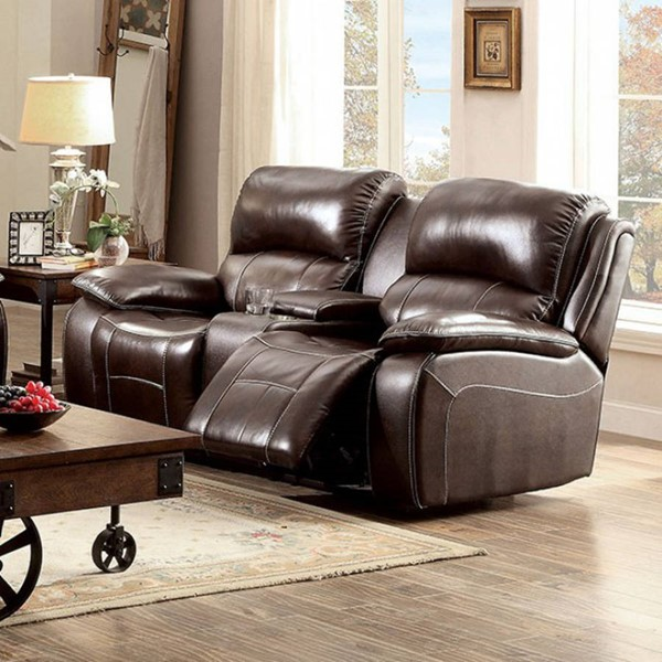 HomeRoots Transitional Brown Leather Pillow Top Loveseat OCN-303476