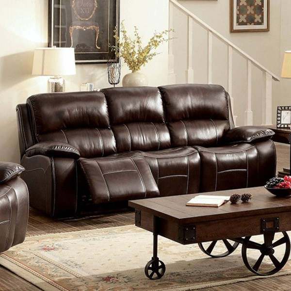 HomeRoots Transitional Brown Leather Pillow Top Sofa OCN-303477