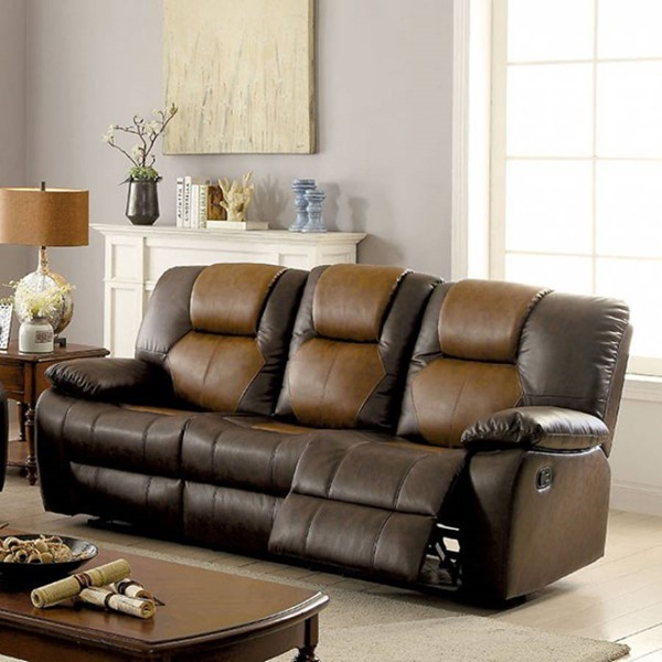 HomeRoots Transitional Brown Leather Reclining Sofa OCN-303480