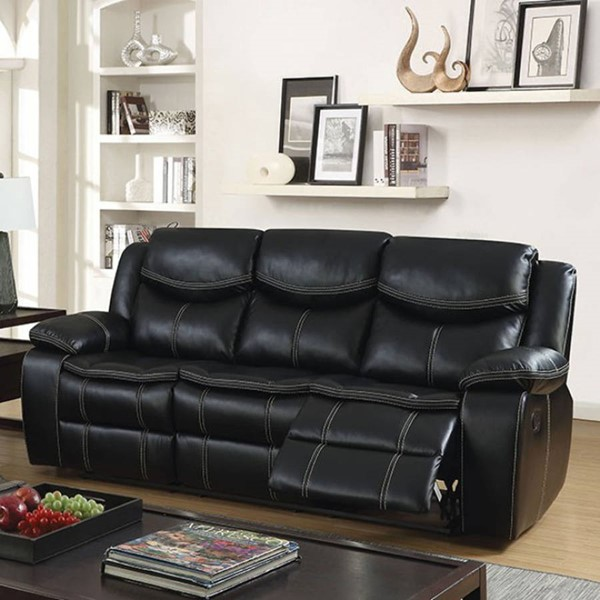 HomeRoots Transitional Black Leatherette Reclining Sofa OCN-303482