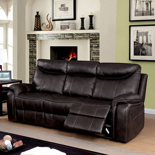 HomeRoots Dark Brown Leather Plush Sofa OCN-303485