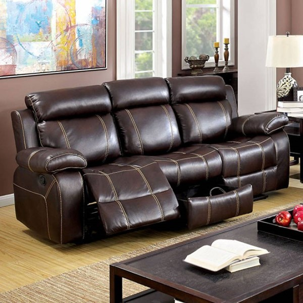 HomeRoots Brown Leather Contrast Stitching Sofa OCN-303488