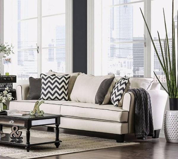 HomeRoots Off White Fabric Wood Premium Sofa OCN-303512