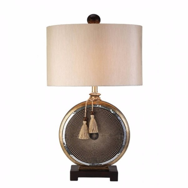 HomeRoots Brown Wood Mosaic Design Table Lamp OCN-303525