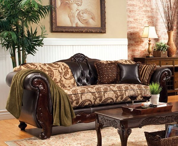 HomeRoots Transitional Brown Faux Leather Fabric Wood Luxurious Sofa OCN-303526
