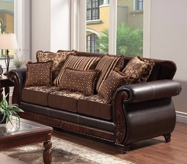 HomeRoots Traditional Dark Brown Leatherette Wood Sofas OCN-303527-SF-VAR