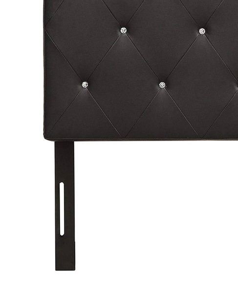 HomeRoots Black Faux Leather Diamond Tufted Cal King Headboard OCN-303550