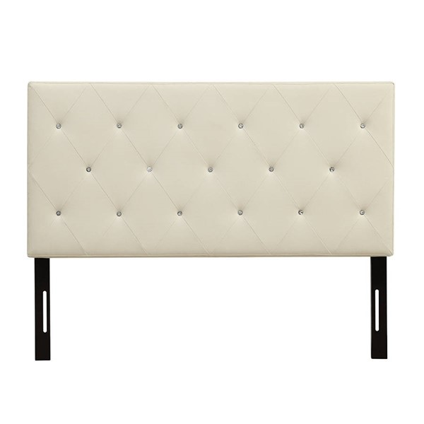 HomeRoots White Faux Leather Diamond Tufted Queen Headboard OCN-303552