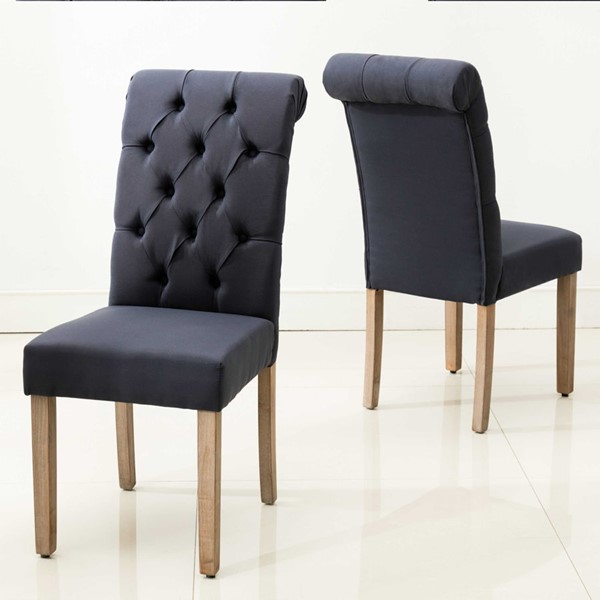 2 HomeRoots Blue Roll Top Tufted Dining Chairs OCN-303555