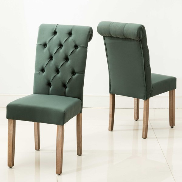 2 HomeRoots Green Roll Top Tufted Dining Chairs OCN-303557