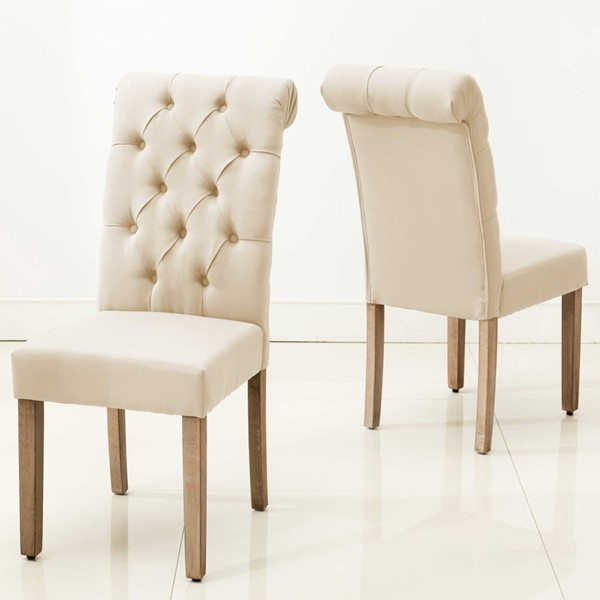 2 HomeRoots Grey Roll Top Tufted Dining Chairs OCN-303558