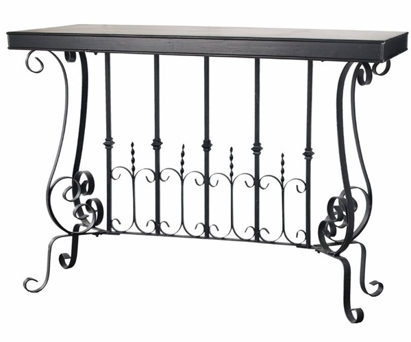 Homeroots Black Metal Patently Dramatic Console Table OCN-304137