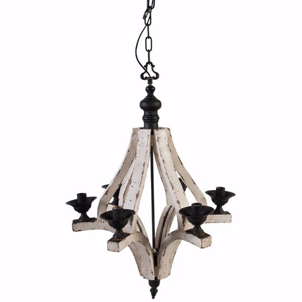 HomeRoots White Wood Black Iron Solid 6 Light Washed Chandelier OCN-304538