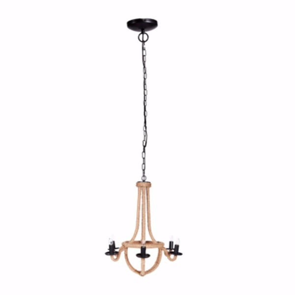 HomeRoots Gold Black Iron Rope Solid 6 Light Chandelier OCN-304541
