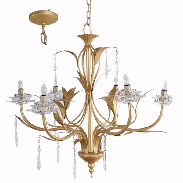 HomeRoots Gold Metal Clear Glass Glamorous Nature Inspired 6 Light Chandelier OCN-304542