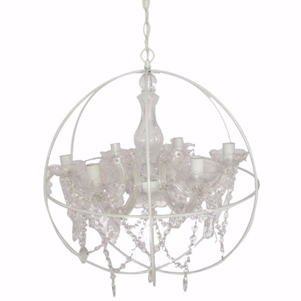 HomeRoots White Plastic Clear Glass Round Crystal Hangings Chandelier OCN-304552