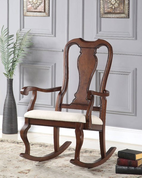 HomeRoots Cream Fabric Brown Rubberwood Rocking Chair OCN-304745