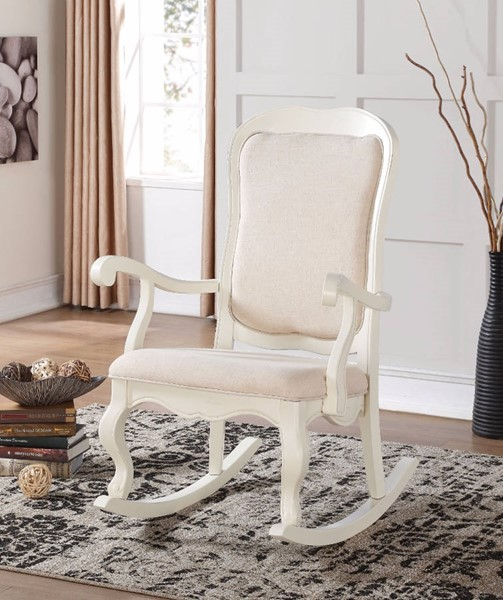HomeRoots White Fabric Rubberwood Rocking Chair OCN-304746