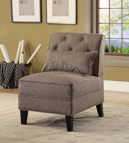 HomeRoots Brown Linen Poplar Wood Accent Chair with Pillow OCN-304782