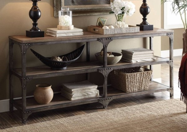Homeroots Weathered Oak Antique Silver 4 Shelves Console Table OCN-304838