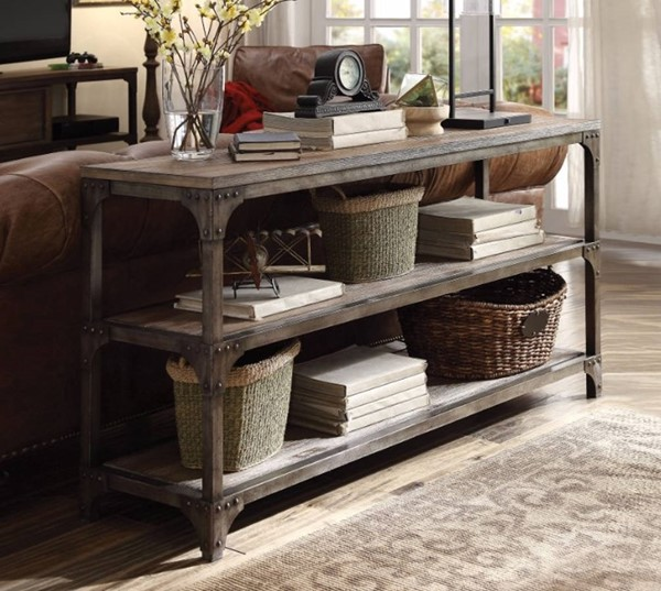 Homeroots Weathered Oak Antique Silver 2 Shelves Console Table OCN-304839
