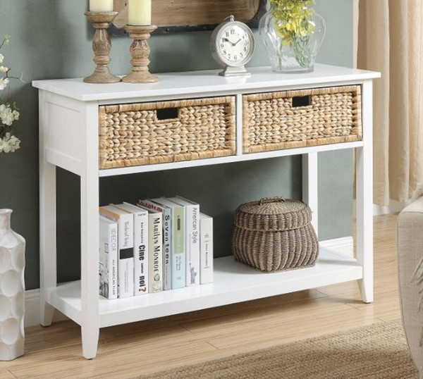 Homeroots White Solid Wood 2 Drawers Console Table OCN-304852