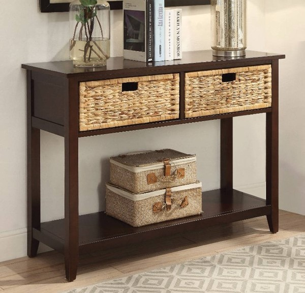 Homeroots Espresso Brown Solid Wood 2 Drawers Console Table OCN-304853