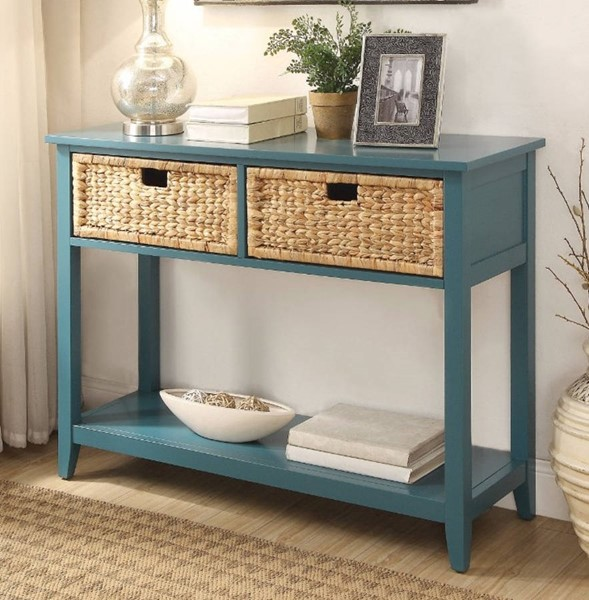 Homeroots Blue Solid Wood 2 Drawers Console Table OCN-304854